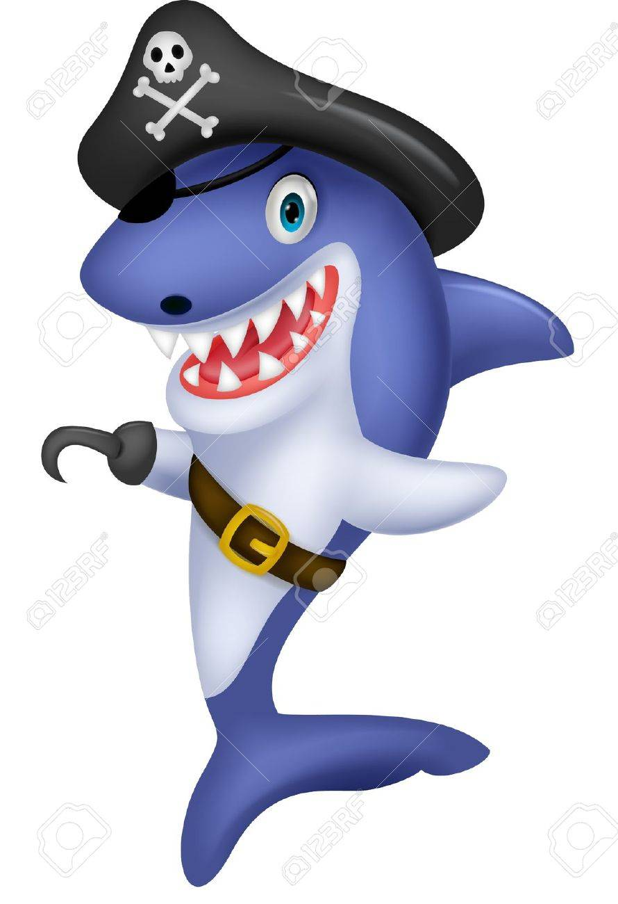 Cute pirate shark cartoon Stock Vector - 19583406