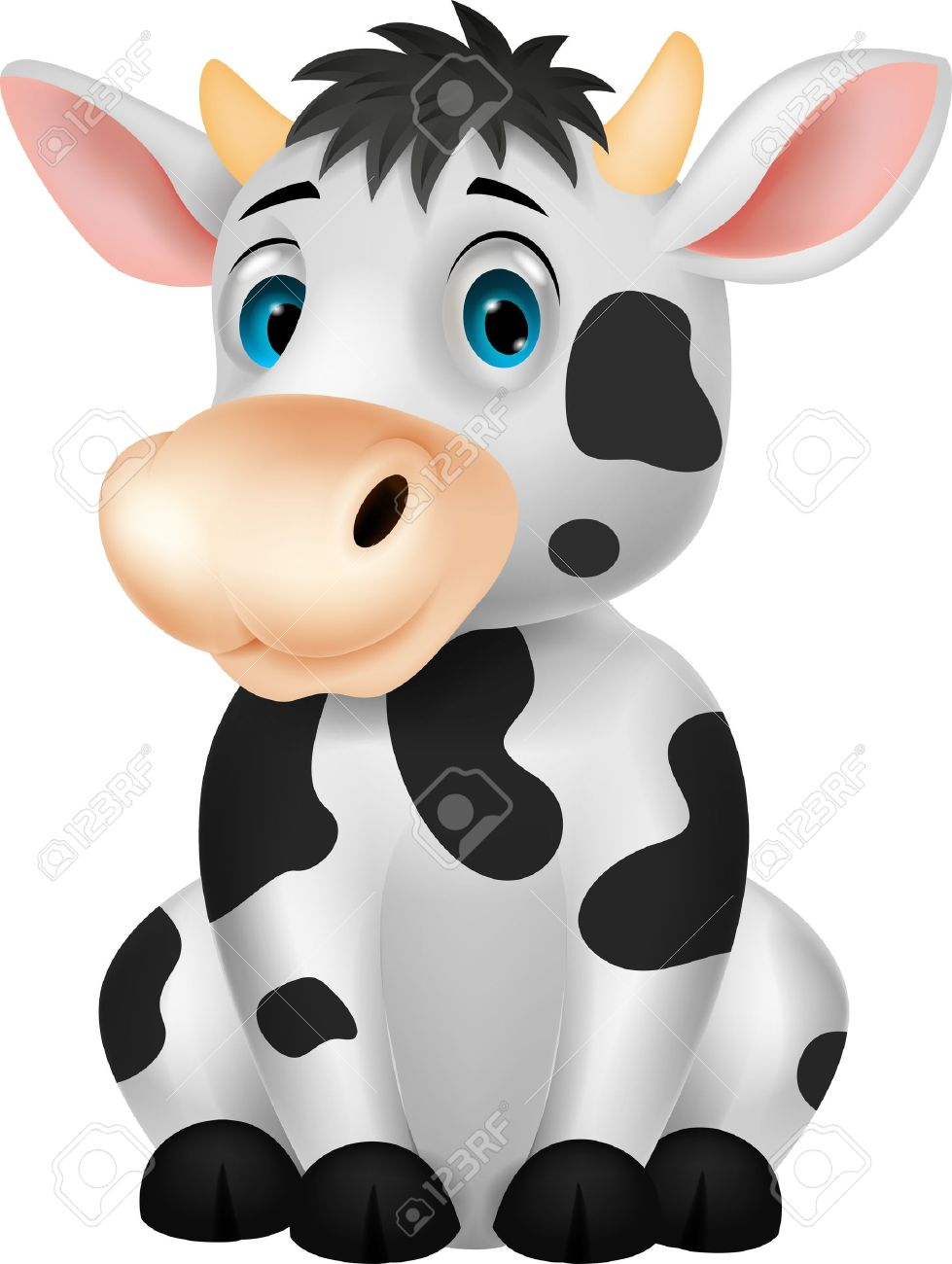 Cute Cow Cartoon Sitting Royalty Free Cliparts, Vectors, And Stock ...