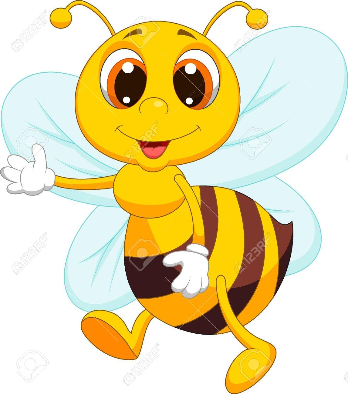 Cute bee cartoon waving Stock Vector - 19864800