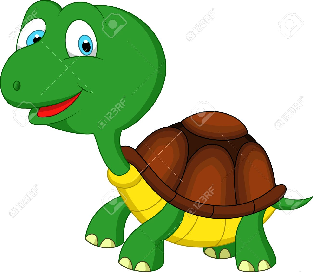 Cute green turtle cartoon Stock Vector - 20219477