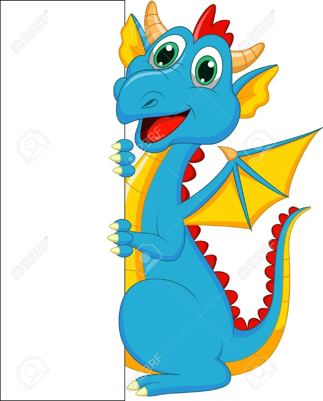cute dragon cartoon with blank sign royalty free cliparts vectors