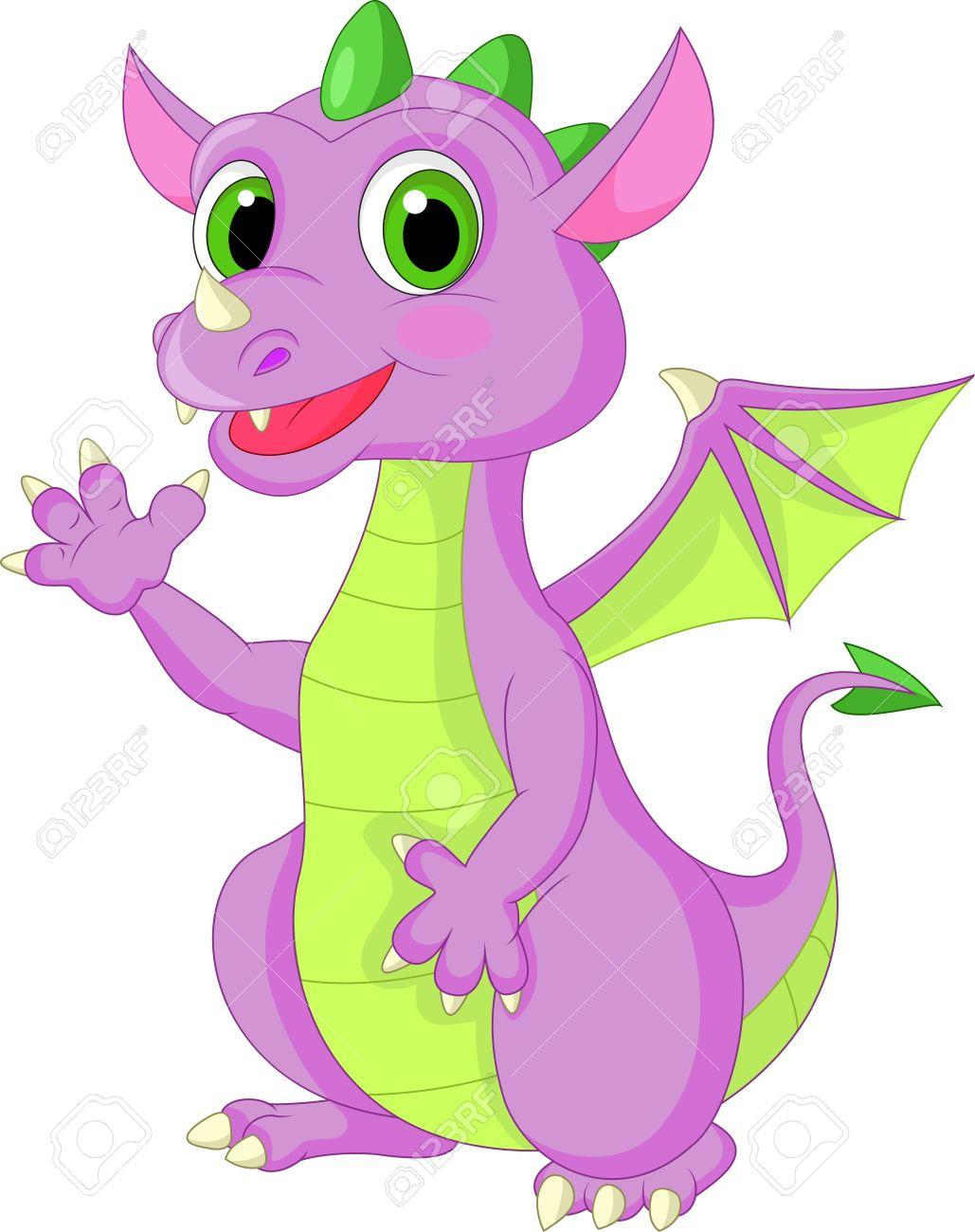 Cute baby dragon waving Stock Vector - 20219399