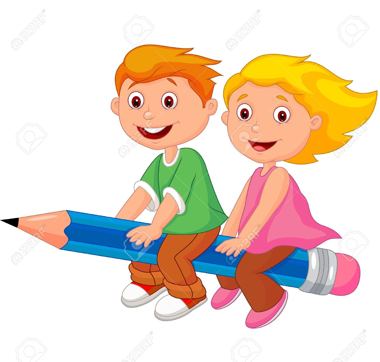 cartoon boy and flying on a pencil royalty free cliparts