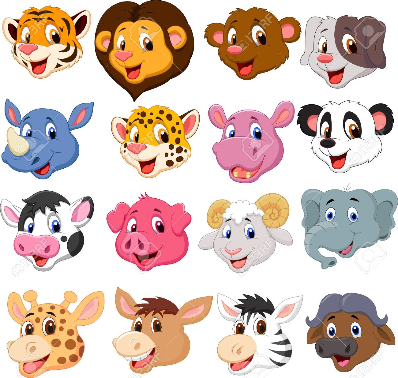 Cartoon animal head collection set Stock Vector - 20754030