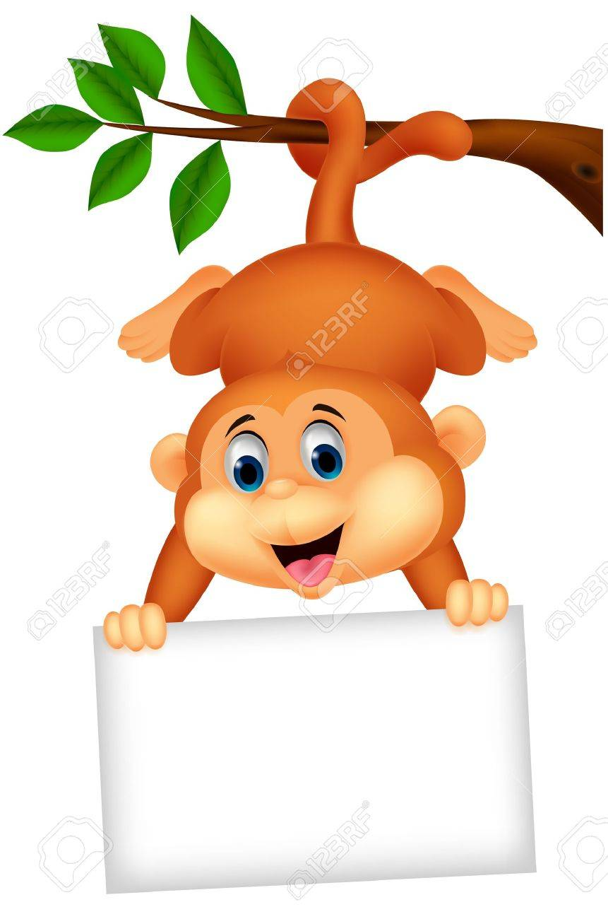 Cute monkey cartoon with blank sign - 20754023