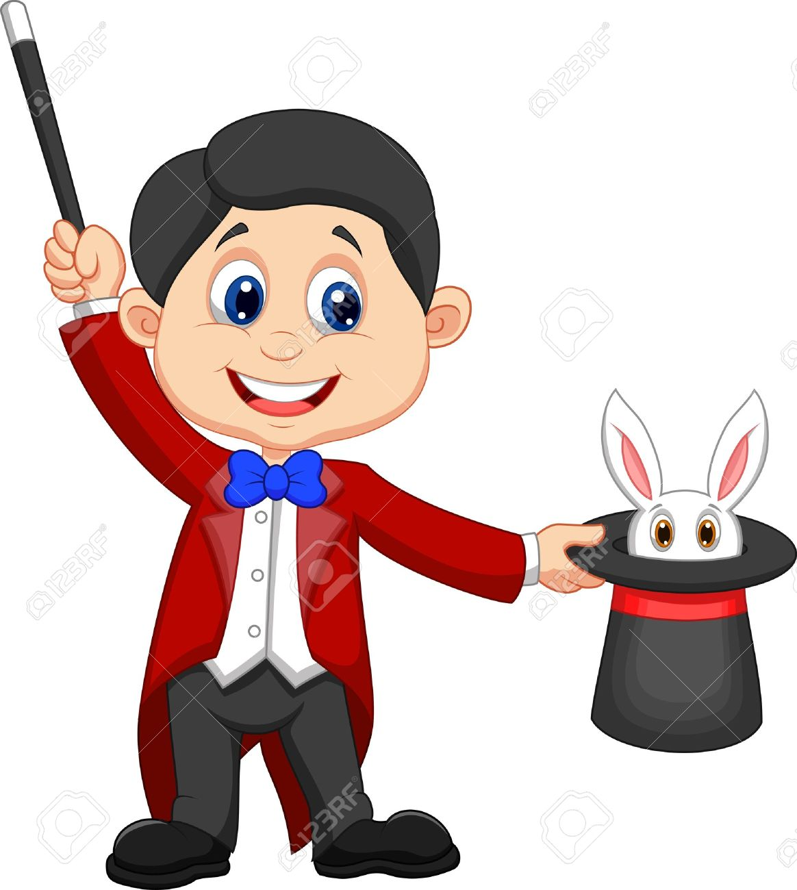 Magician cartoon pulling out a rabbit from his top hat - 20897436