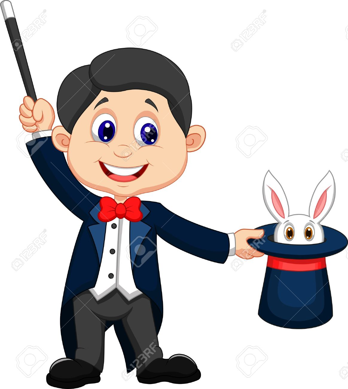 Magician cartoon pulling out a rabbit from his top hat - 20897437