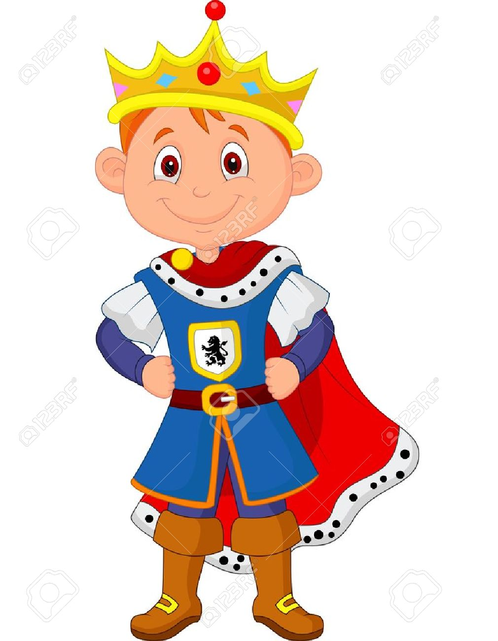 kid cartoon with king costume royalty free cliparts vectors and
