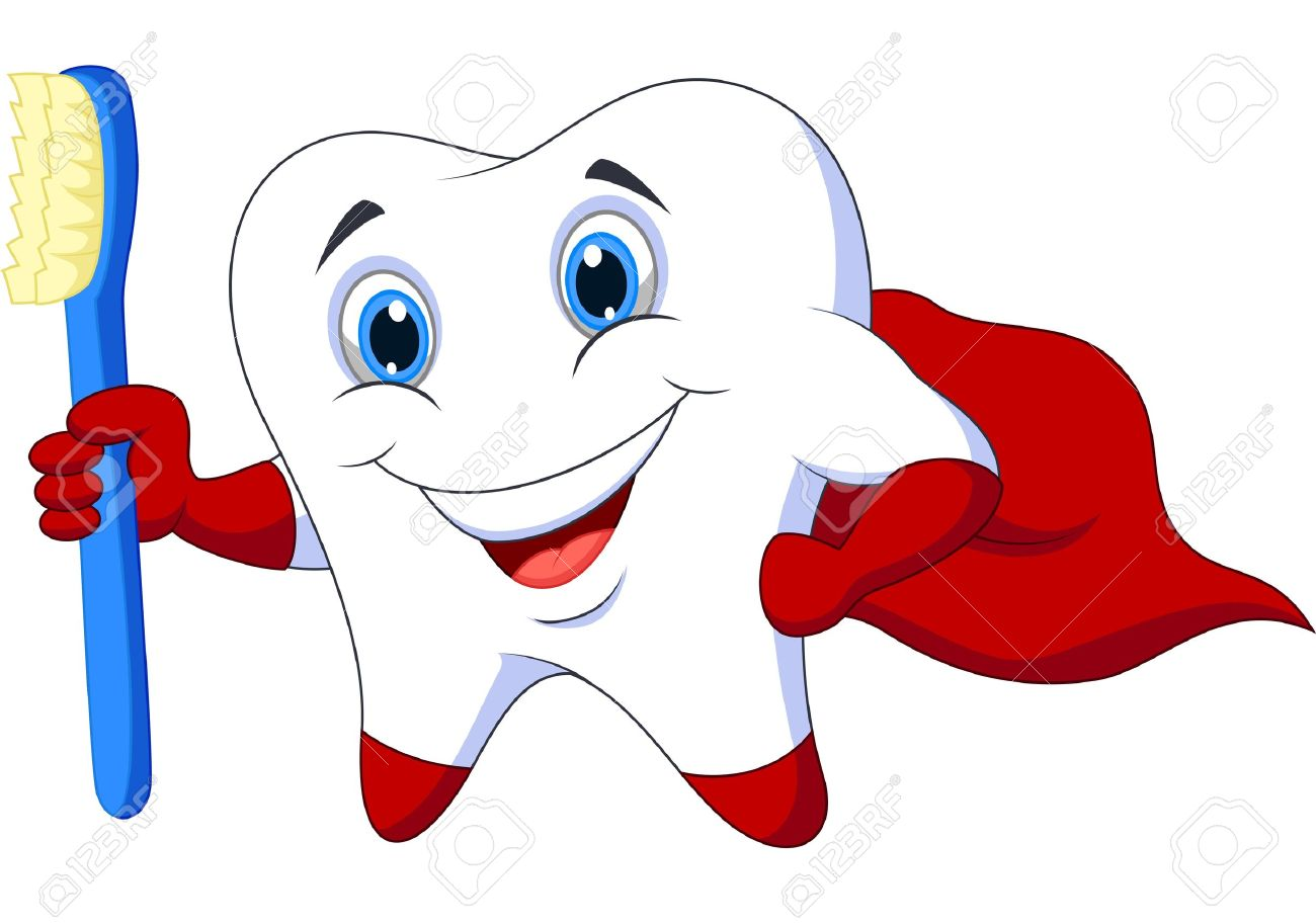 Cute Toothbrush Drawing Cute cartoon superhero tooth