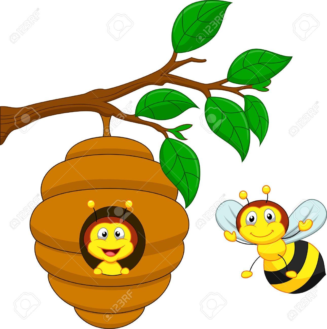 cartoon a honey bee and comb royalty free cliparts vectors and