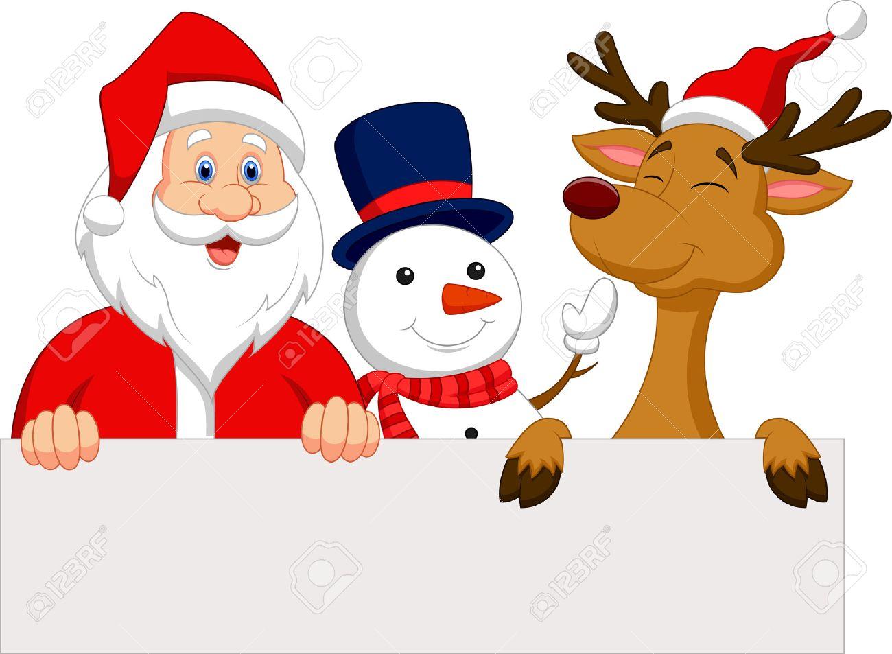 Uncategorized Imagenes Santa Claus cartoon santa claus reindeer and snowman with blank sign royalty stock vector 22466888