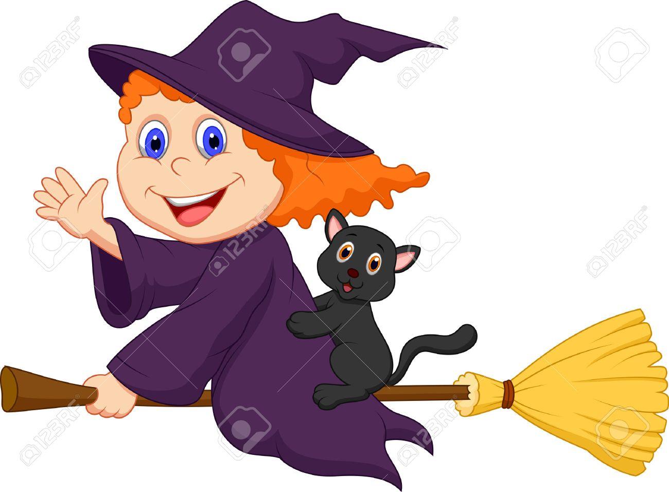 halloween cap Dibujos animados Joven bruja volando en su escoba