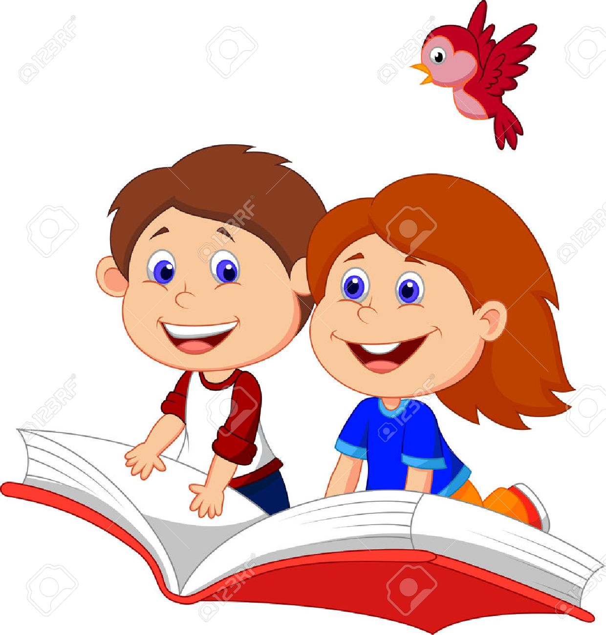 Cartoon Boy and girl flying on a book Stock Vector - 22466969