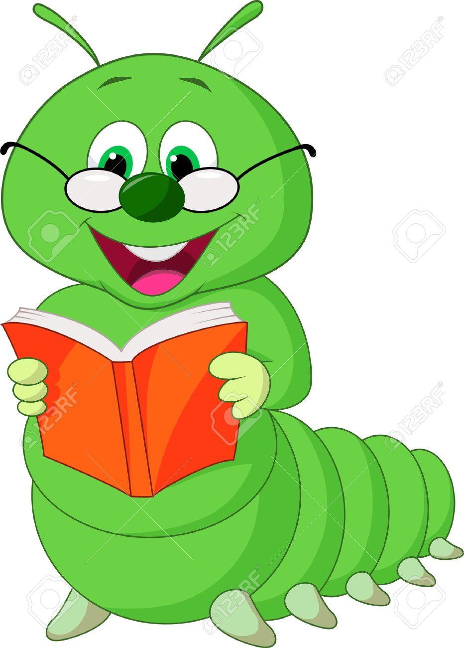 Caterpillar cartoon reading book Stock Vector - 22467073