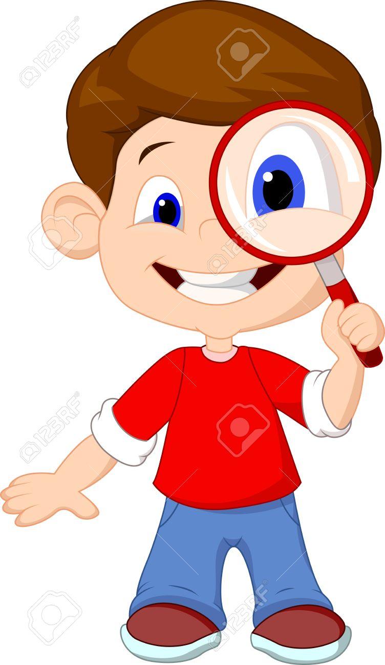 Caricatura de un niño y una lupa Foto de archivo - 22467099 437e499cf1d