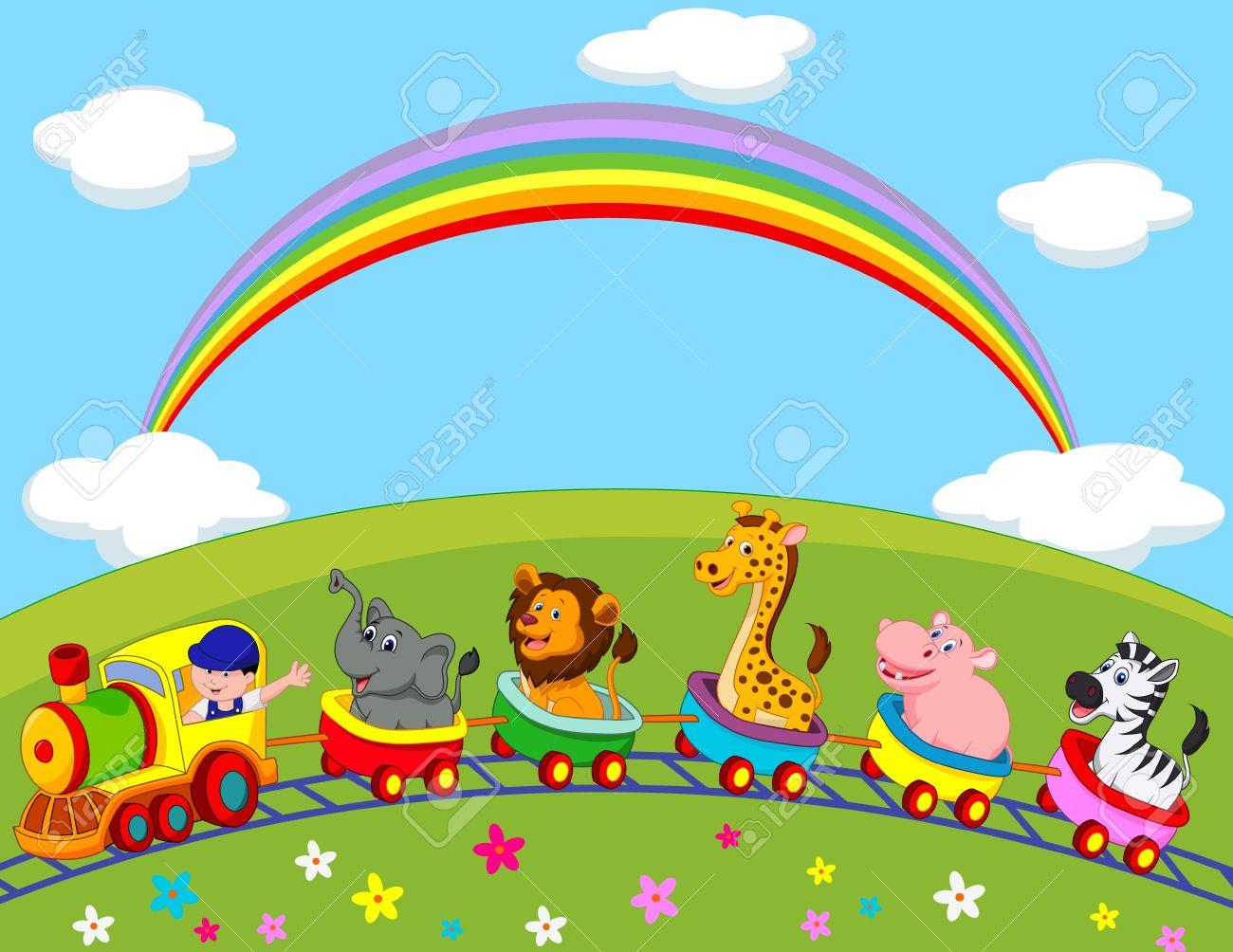 animal train cartoon royalty free cliparts vectors and stock