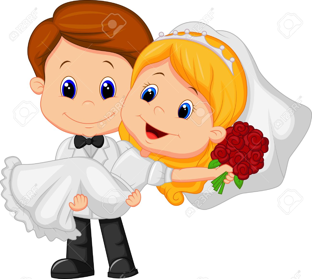 Dibujos animados para niños Jugar Bride and Groom Foto de archivo , 22731605