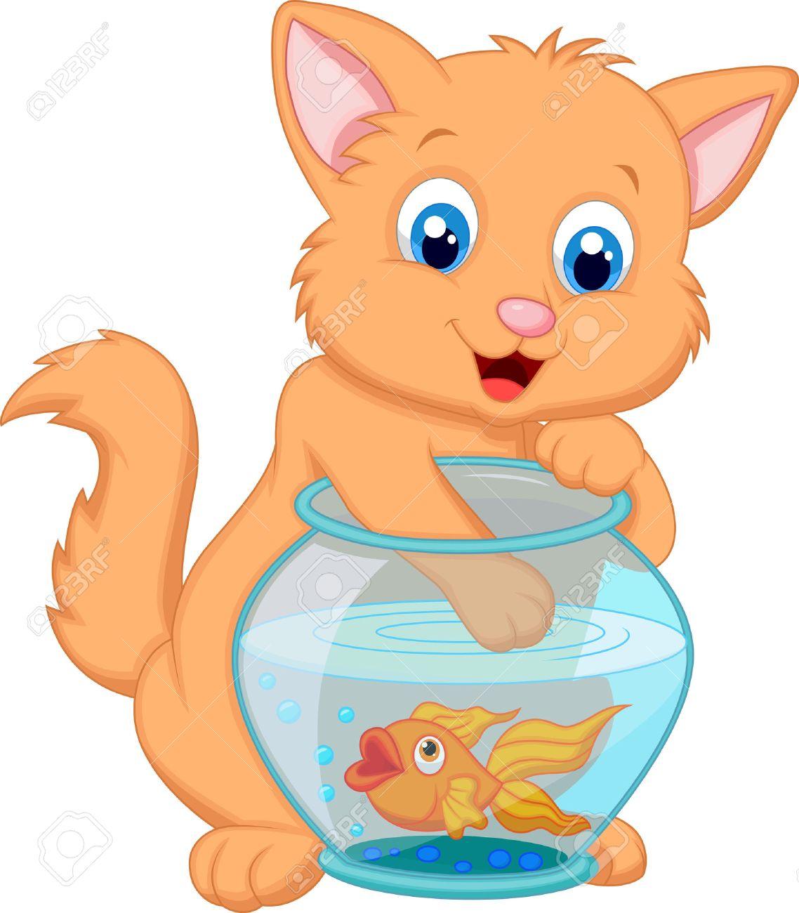 Cartoon Kitten Fishing for Gold Fish in an Aquarium Bowl Stock Vector - 22731611