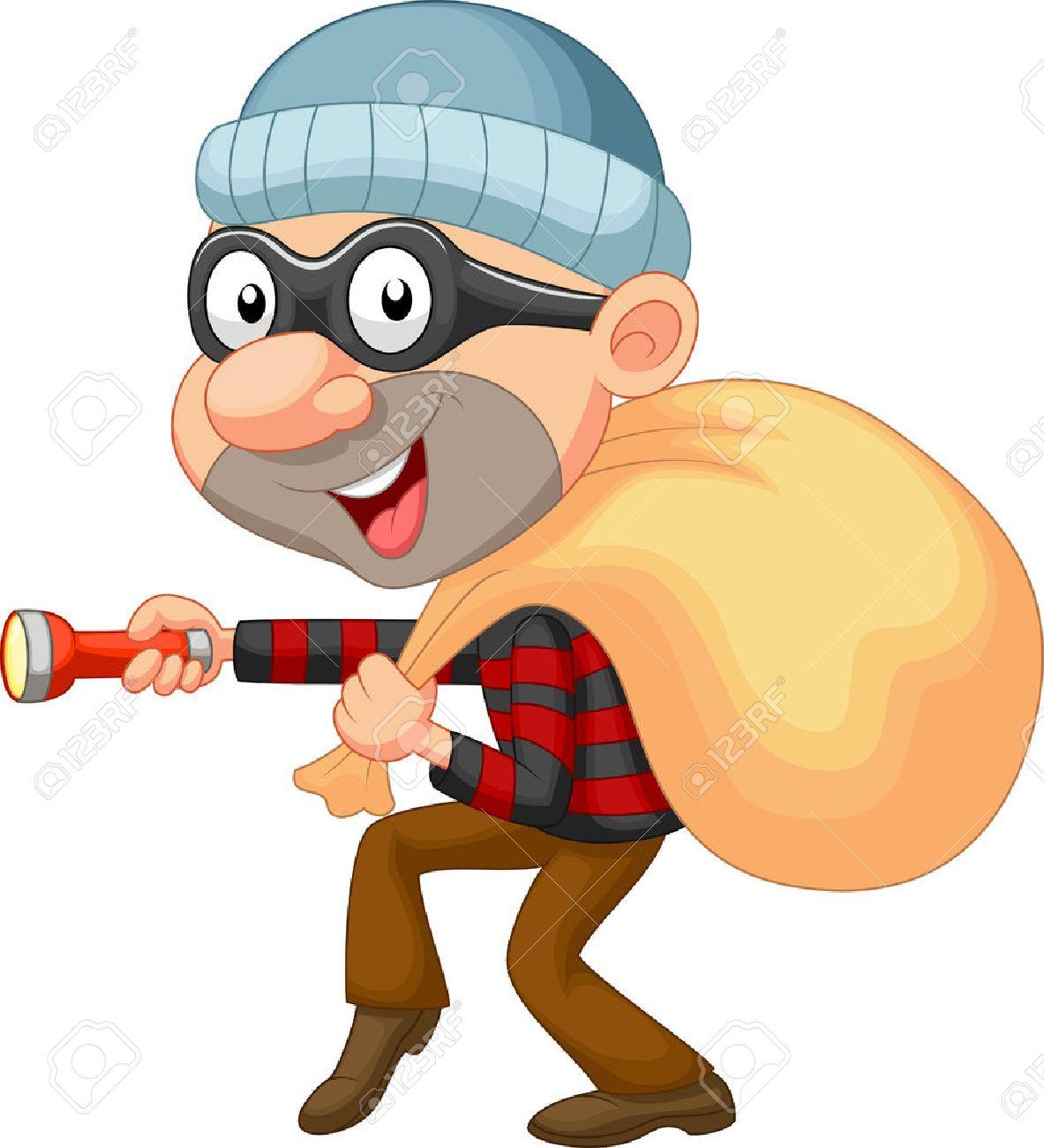 Thief cartoon with sack of money Stock Vector - 23001354