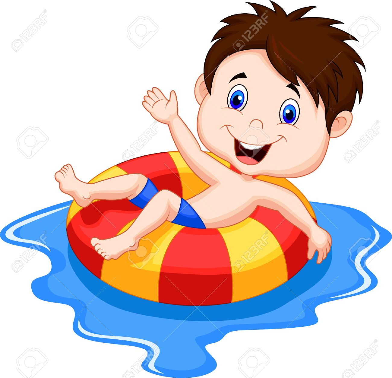 Cartoon Boy floating on an inflatable circle in the pool Stock Vector - 23001380