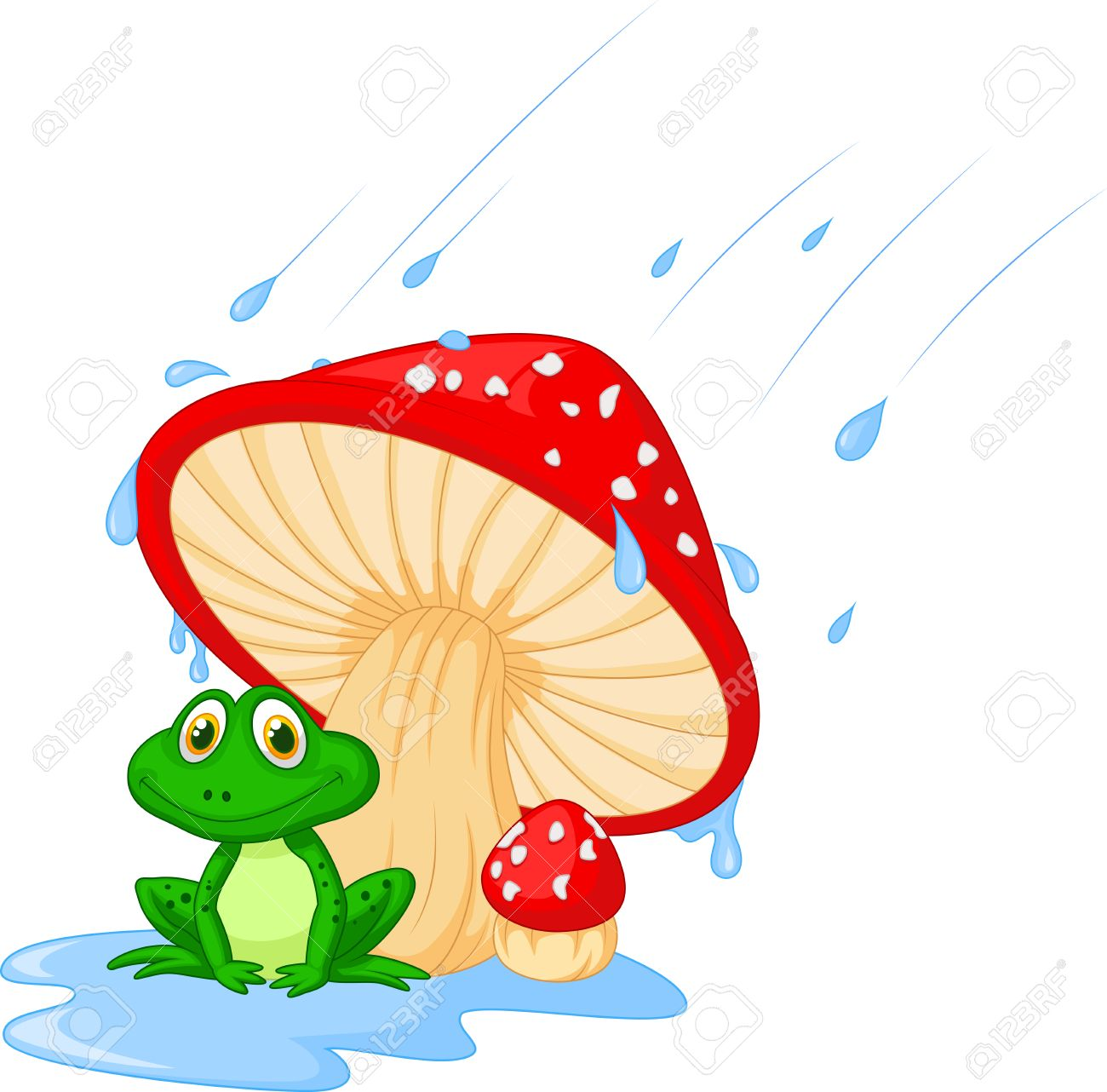 Cartoon mushroom with a toad Stock Vector - 23006461
