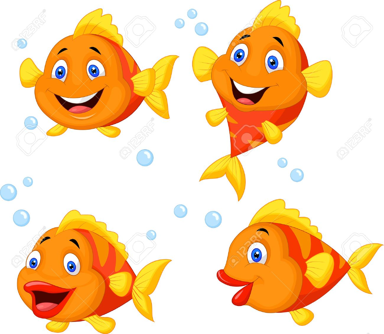 Cute fish cartoon collection set Stock Vector - 23006595