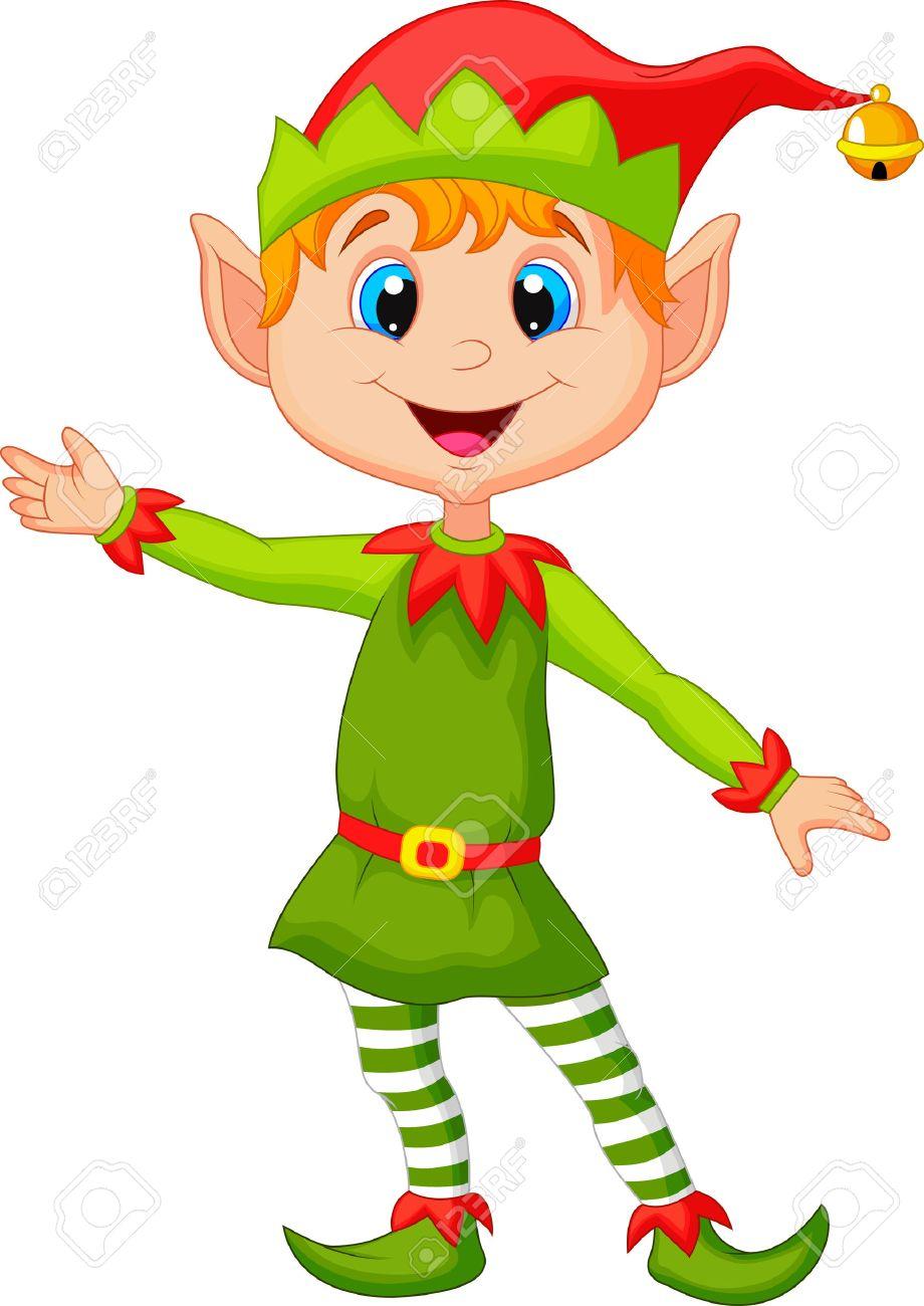 cute christmas elf cartoon presenting royalty free cliparts vectors