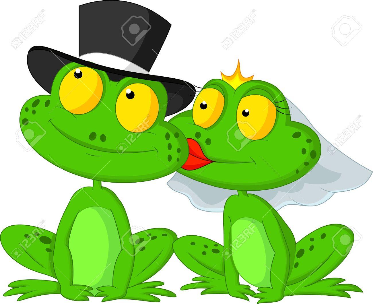 Married frog cartoon kissing - 23007389