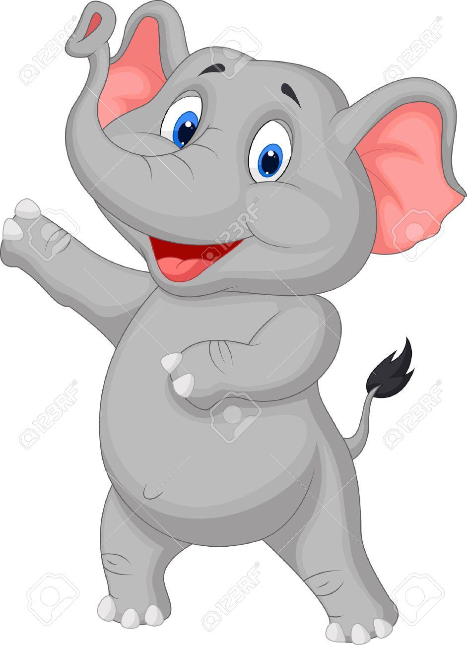 cute elephant cartoon presenting royalty free cliparts vectors