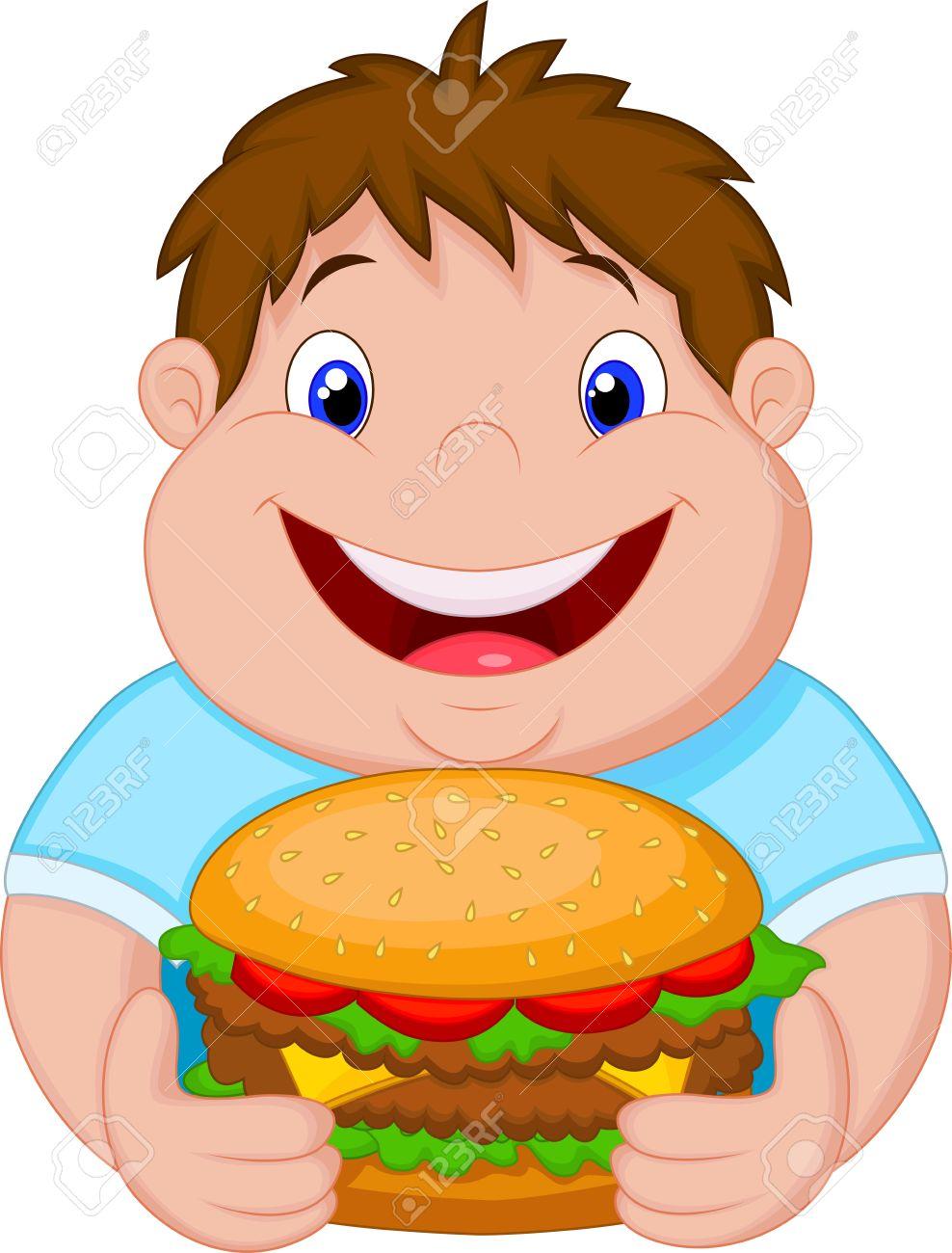 Fat boy cartoon smiling and ready to eat a big hamburger Stock Vector - 23462793