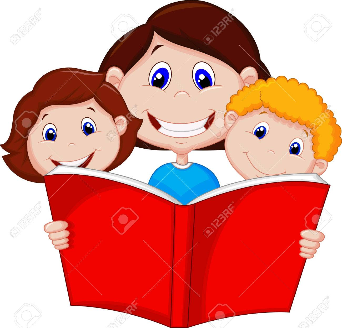 Books Cartoon Clipart Cartoon Mother Reading Book to