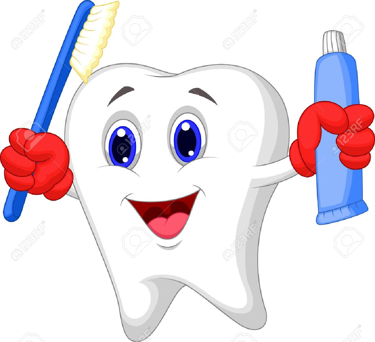 Tooth cartoon holding toothbrush and toothpaste Stock Vector - 23517213