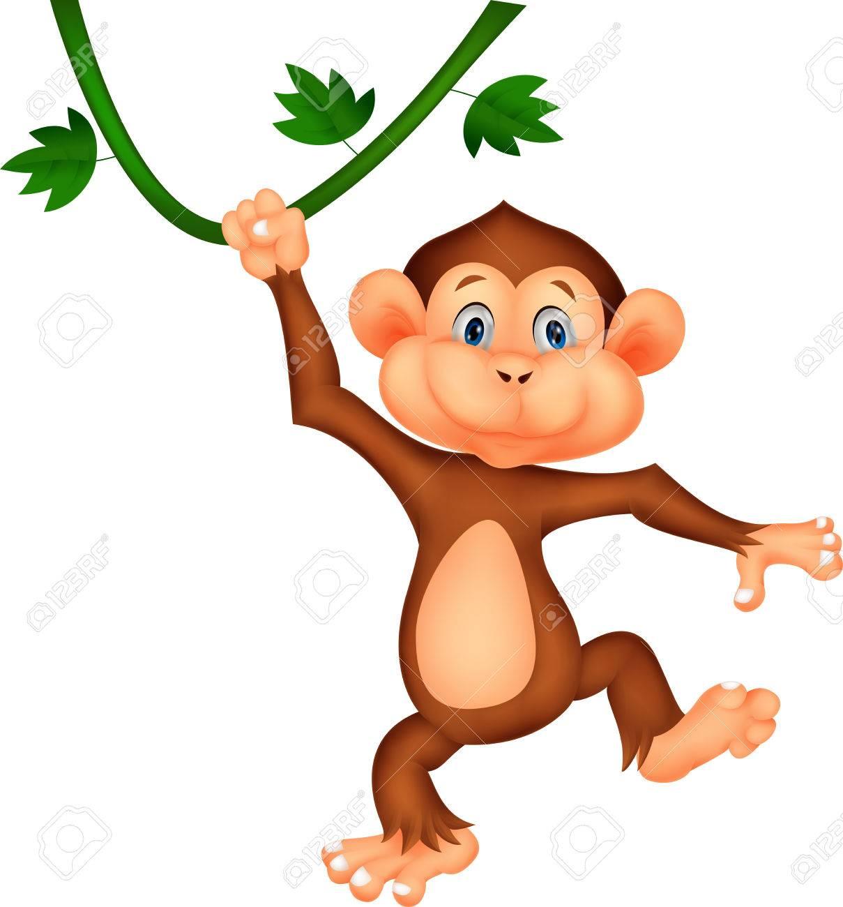 Cute monkey cartoon hanging Stock Vector - 23517242