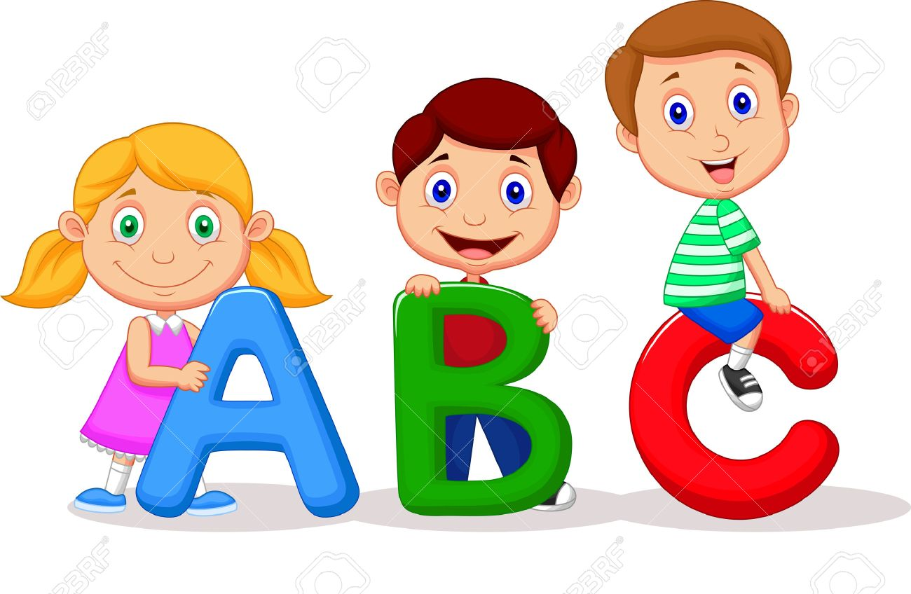abc cartoon children cartoon with abc alphabet stock vector