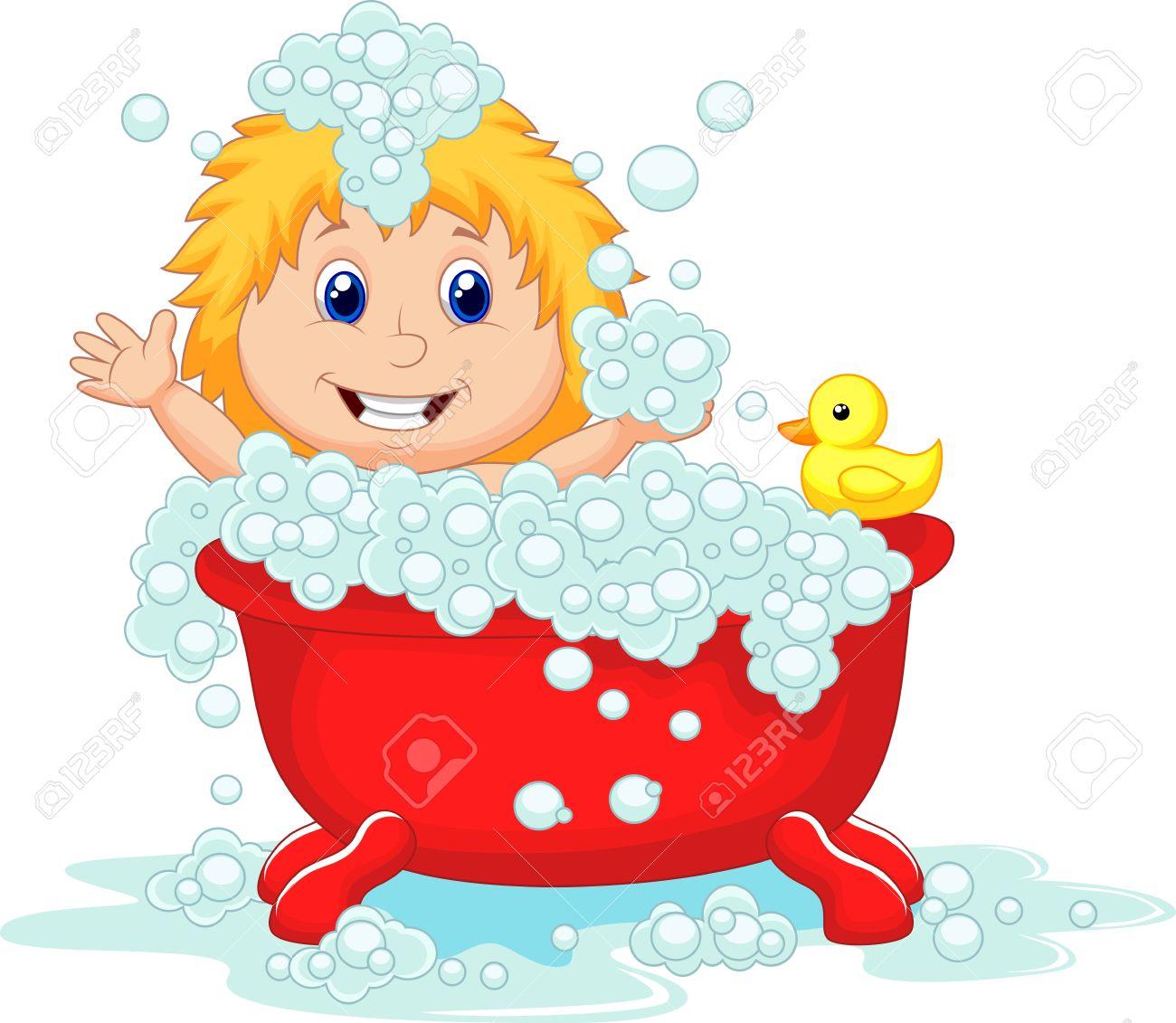 Cartoon Mädchen Beim Baden Im Roten Badewanne Lizenzfrei Nutzbare