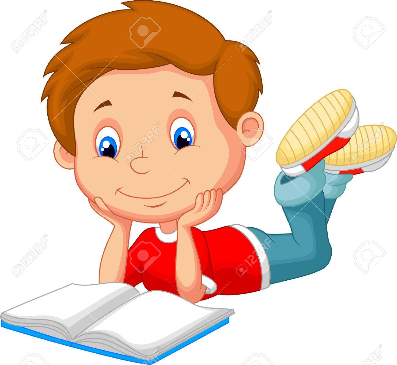Cute Boy Cartoon Reading Book Royalty Free Cliparts Vectors And
