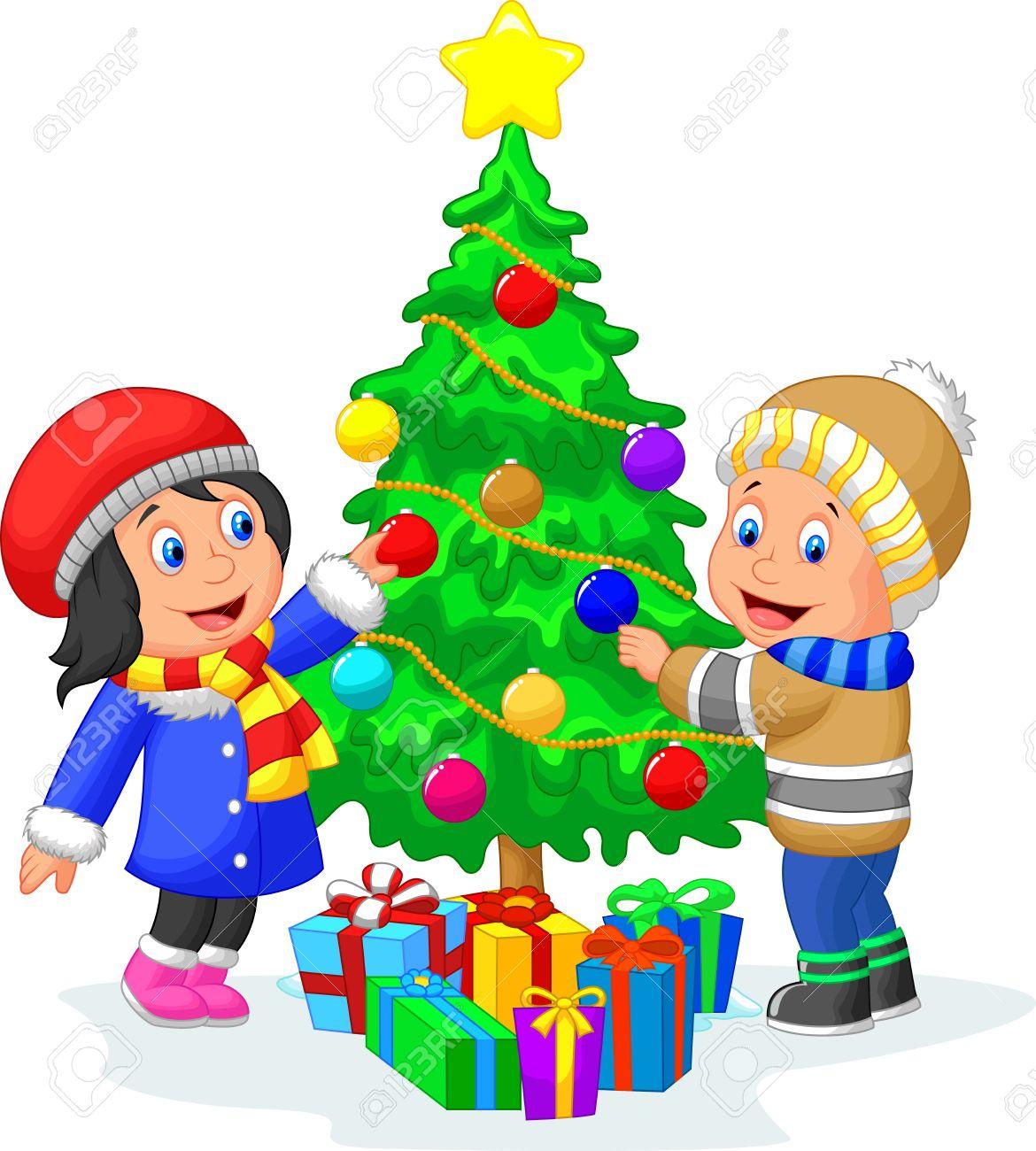 Happy Kids Cartoon Schmücken Einen Weihnachtsbaum Mit Kugeln