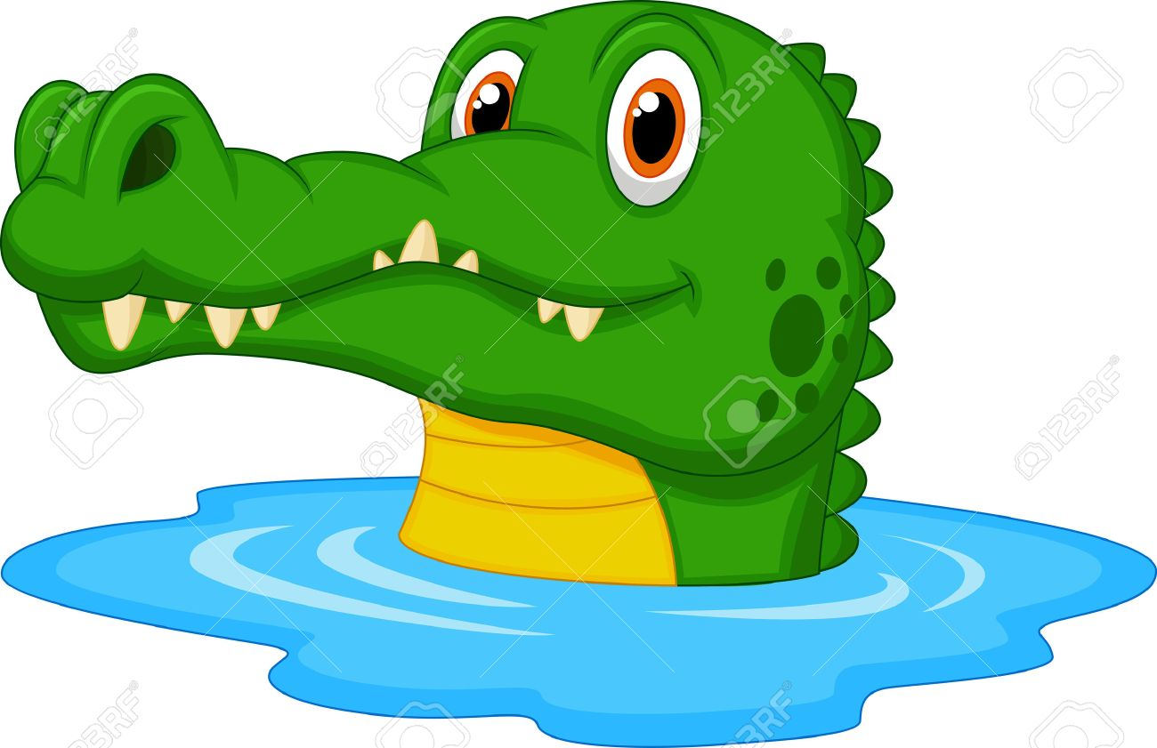 Cute Crocodile Cartoon Swimming Royalty Free Cliparts, Vectors ...