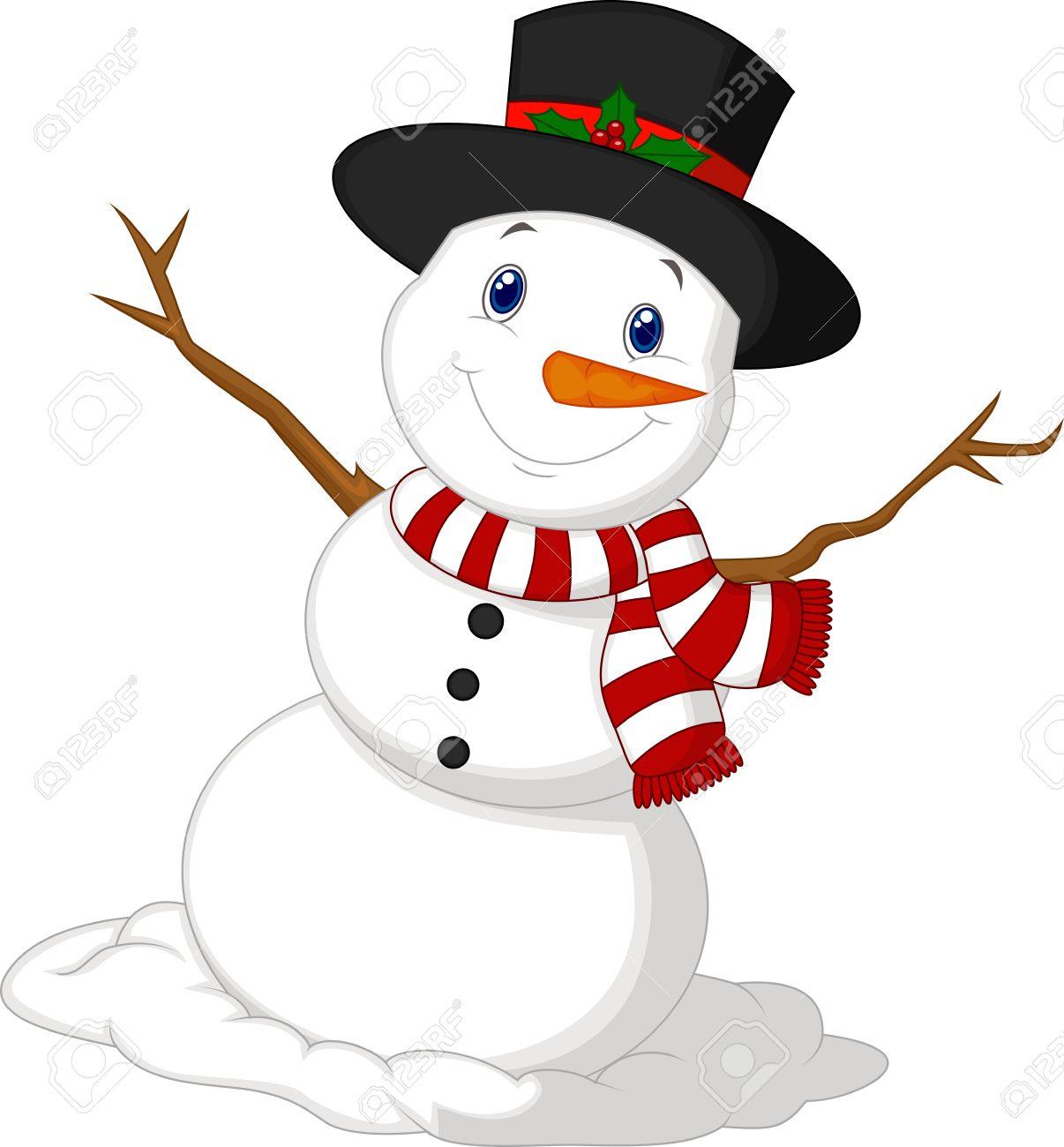 Weihnachtsschneemann-Karikatur Trägt Einen Hut Und Einen Roten Schal ...