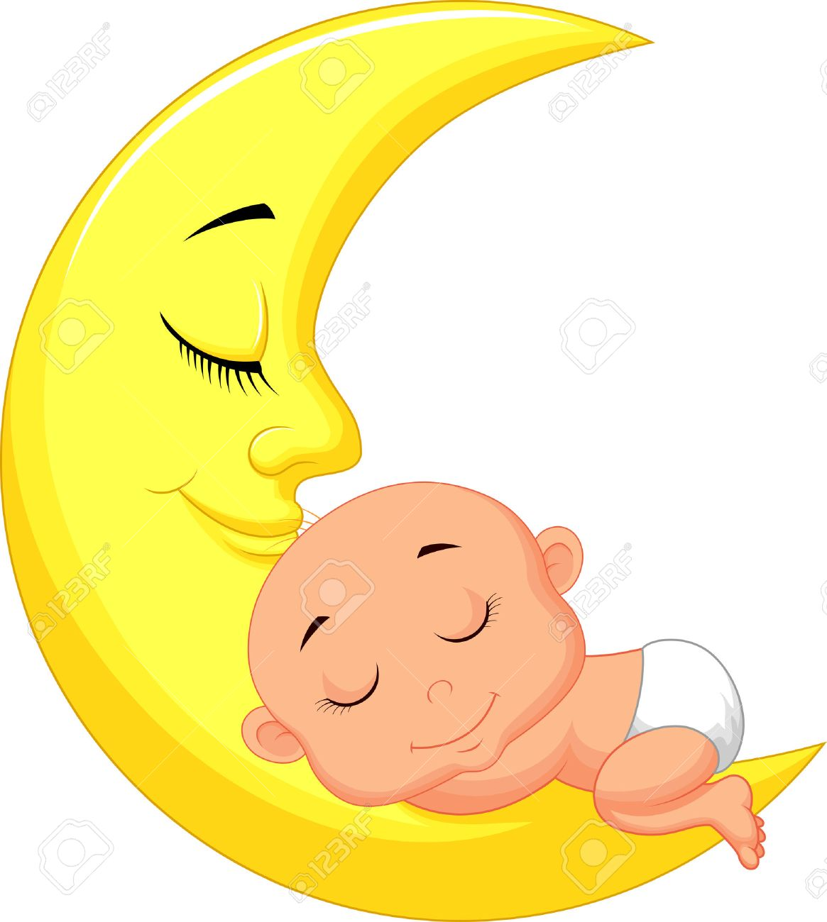 Cute baby cartoon sleeping on the moon royalty free cliparts cute baby cartoon sleeping on the moon stock vector 24336466 voltagebd Image collections