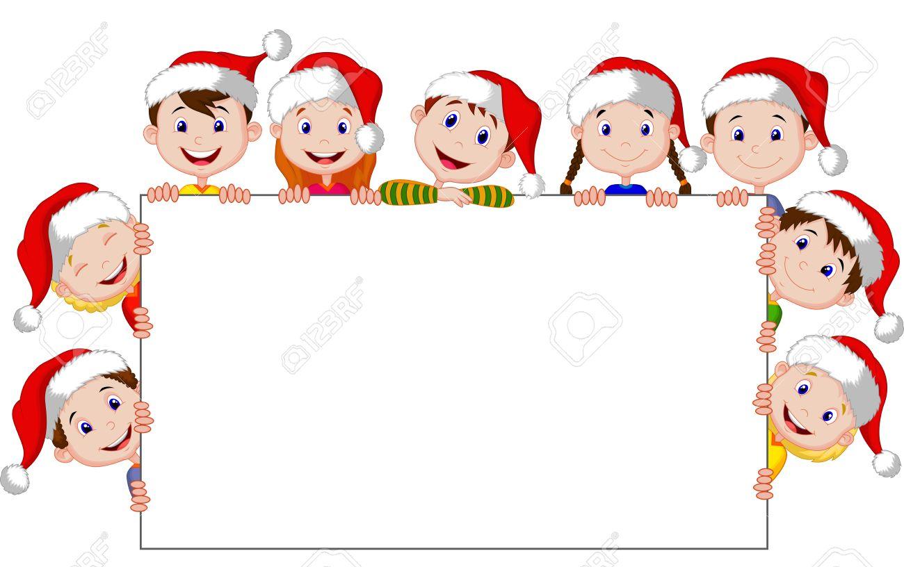 dibujos animados para nios con un cartel en blanco y sombreros de la navidad foto de