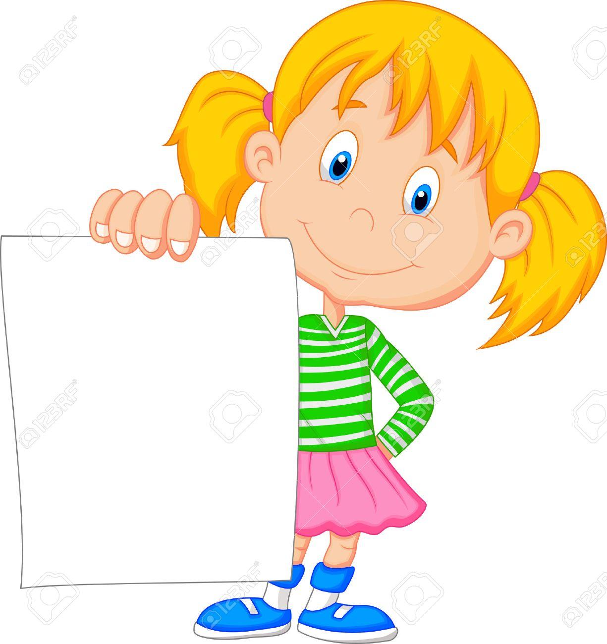 Cartoon girl holding blank paper - 24469077