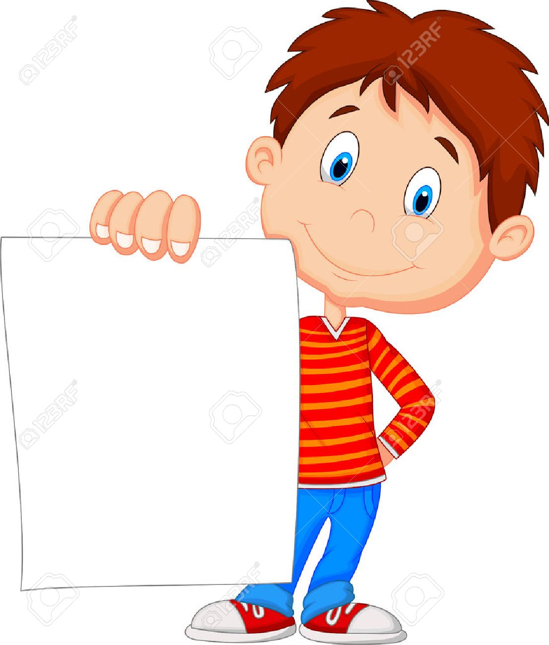 student cartoon cartoon boy holding blank paper - Cartoon Picture Of Child