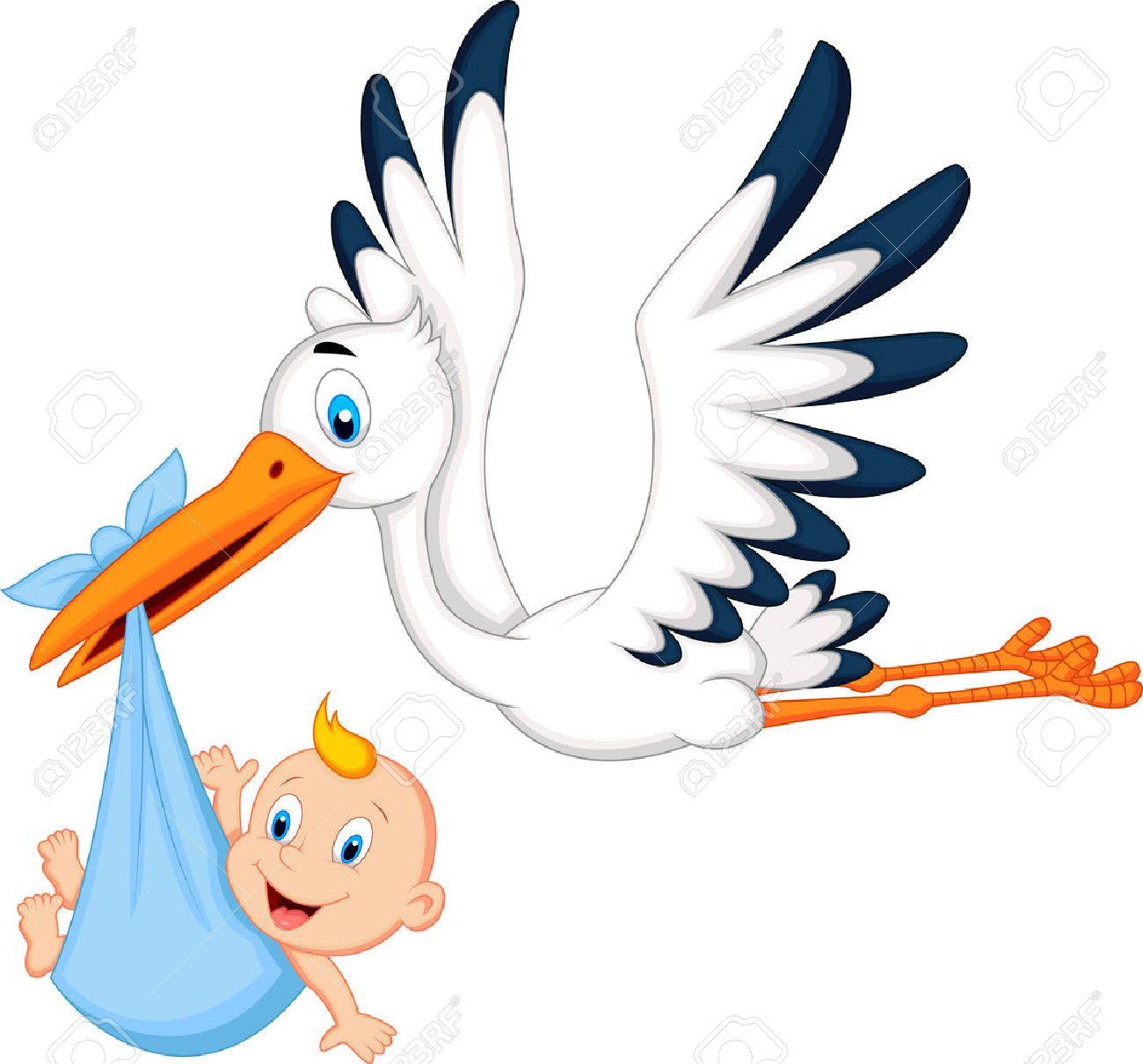 Cartoon Cigogne Portant Bébé