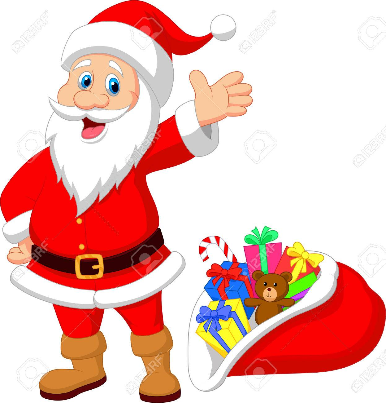 Happy santa clause cartoon with gift royalty free cliparts happy santa clause cartoon with gift stock vector 24336477 negle Image collections