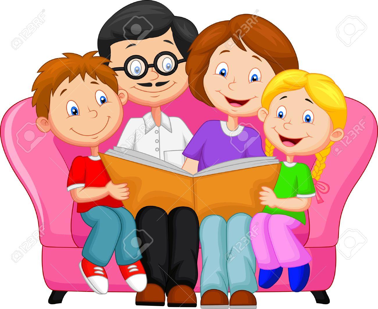 Happy family cartoon reading book - 27166458
