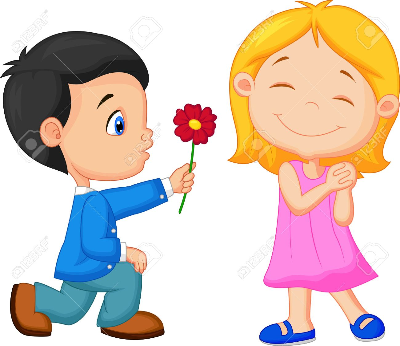 Lượm từ FB 27166460-cartoon-little-boy-kneels-on-one-knee-giving-flowers-to-girl