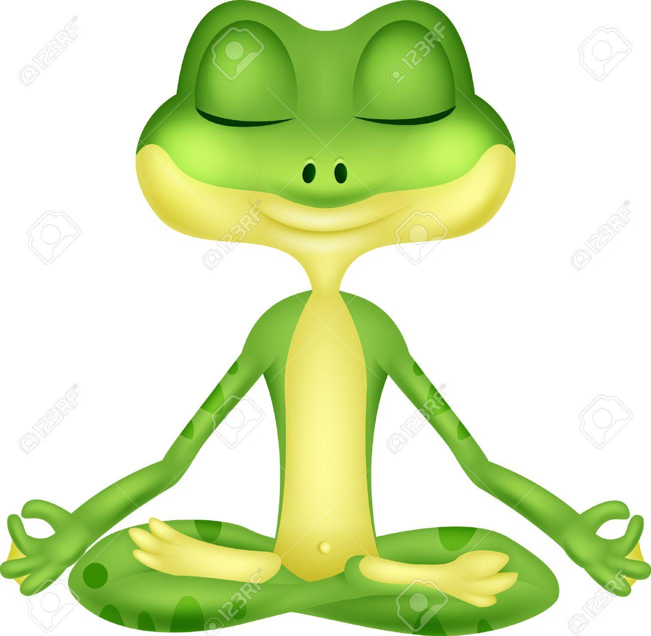 Frog cartoon doing yoga - 27166472