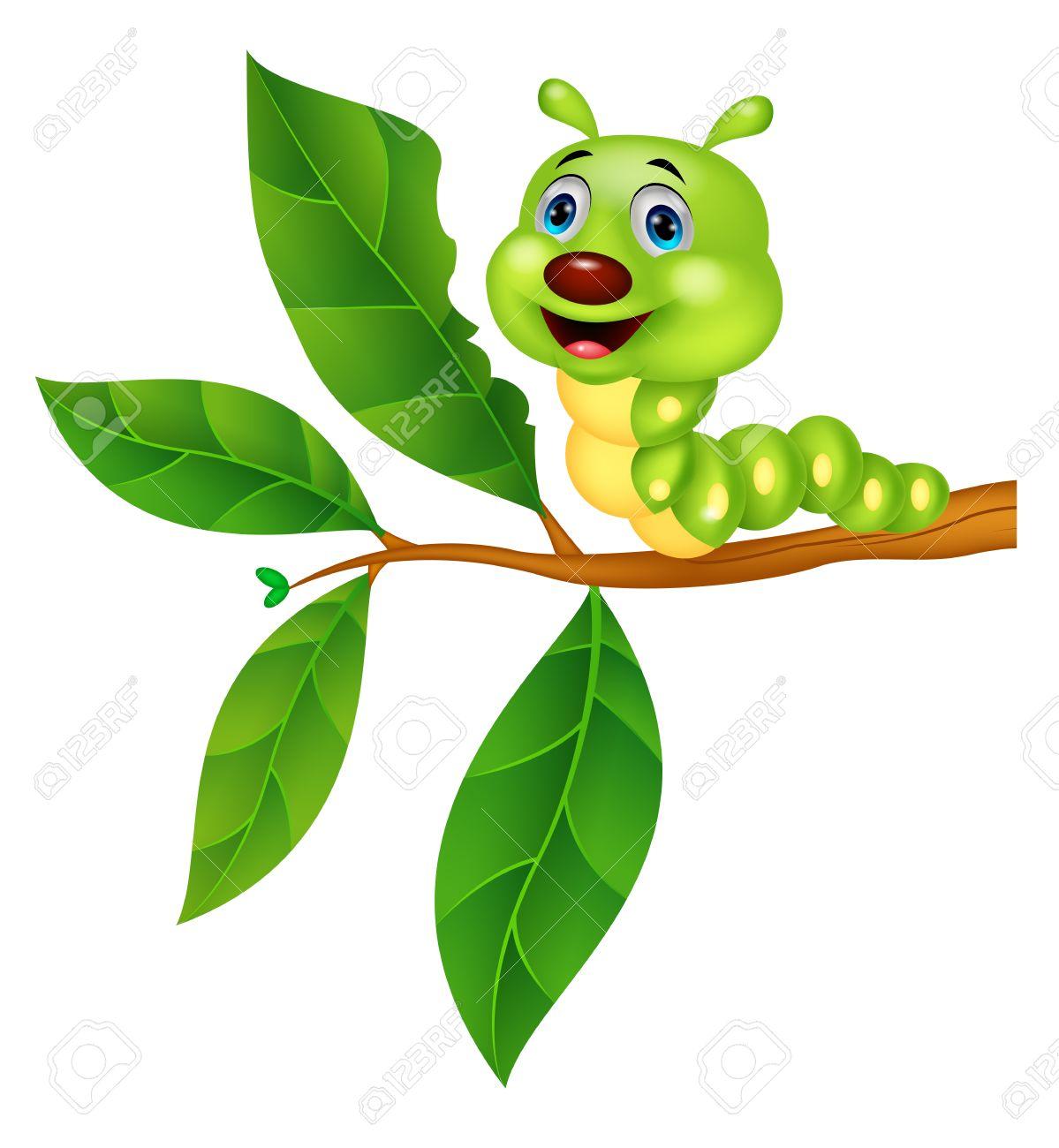 cute caterpillar cartoon eating leaf royalty free cliparts