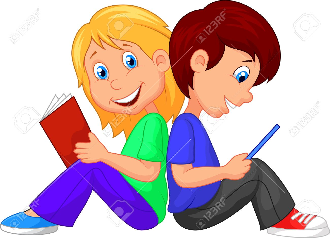 cartoon boy and girl reading book royalty free cliparts, vectors